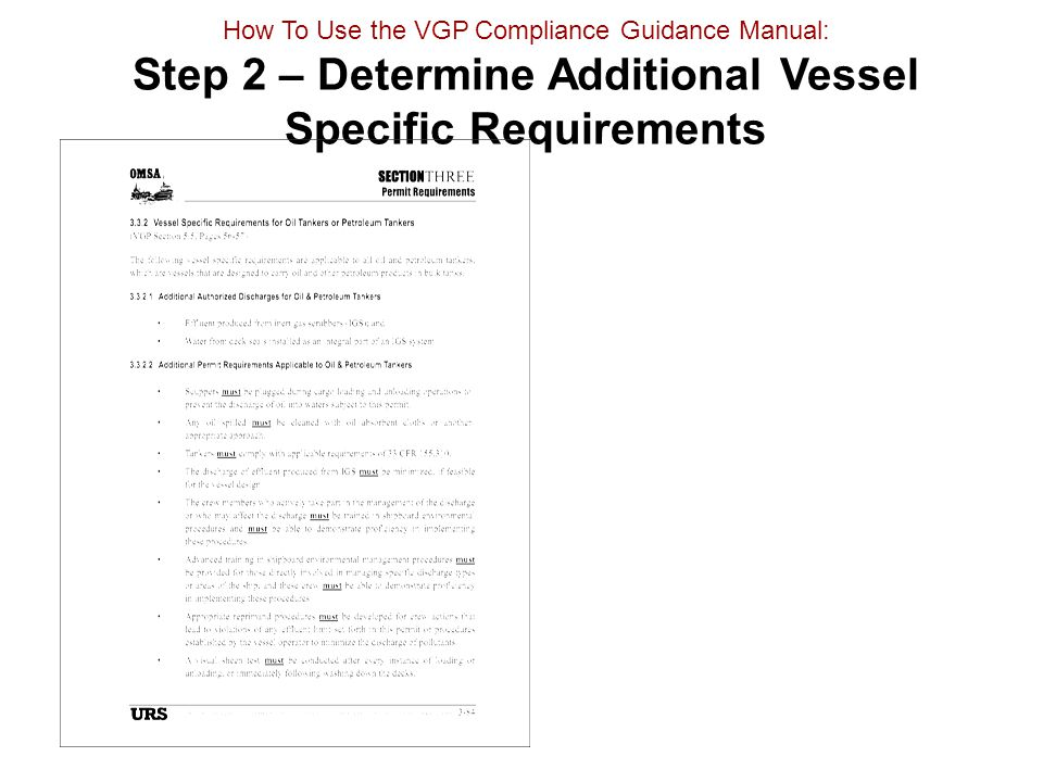 How To Use the VGP Compliance Guidance Manual: Step 2 – Determine Additional Vessel Specific Requirements
