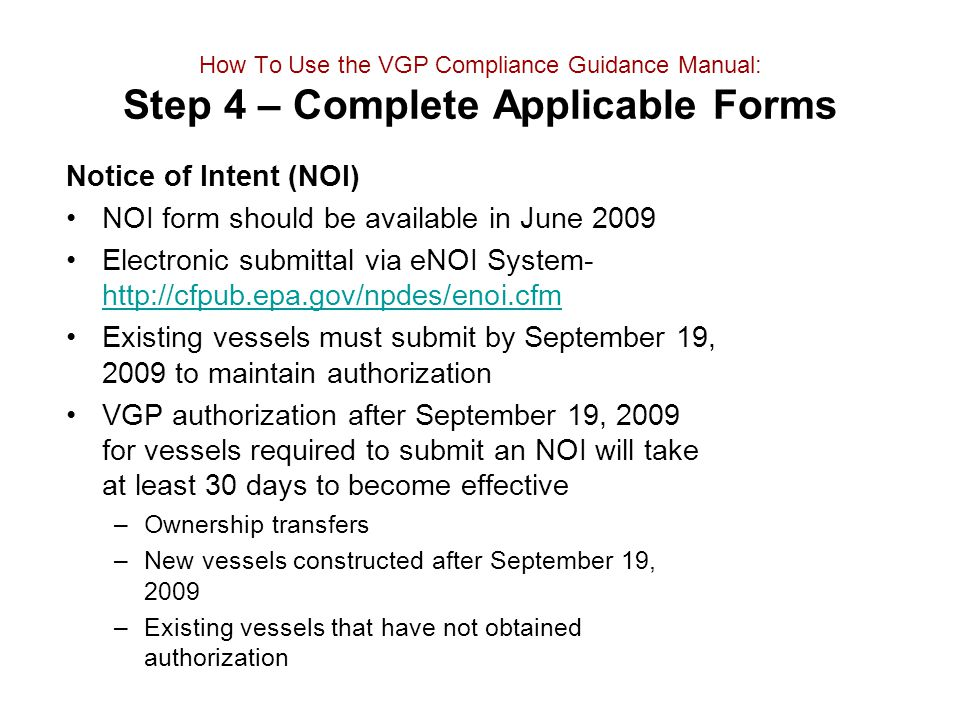 NOI form should be available in June 2009
