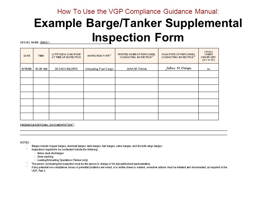 How To Use the VGP Compliance Guidance Manual: Example Barge/Tanker Supplemental Inspection Form