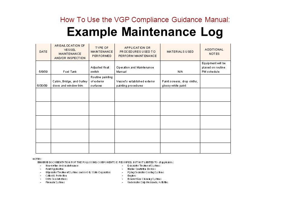 How To Use the VGP Compliance Guidance Manual: Example Maintenance Log