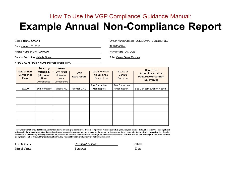 How To Use the VGP Compliance Guidance Manual: Example Annual Non-Compliance Report