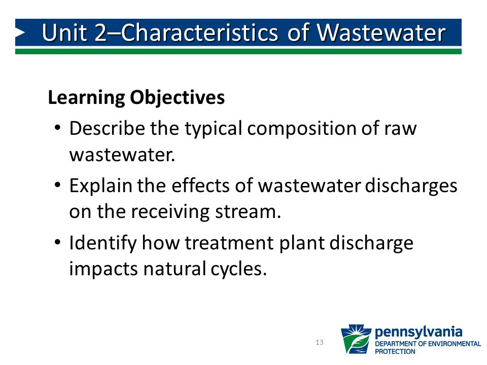 Unit 2–Characteristics of Wastewater