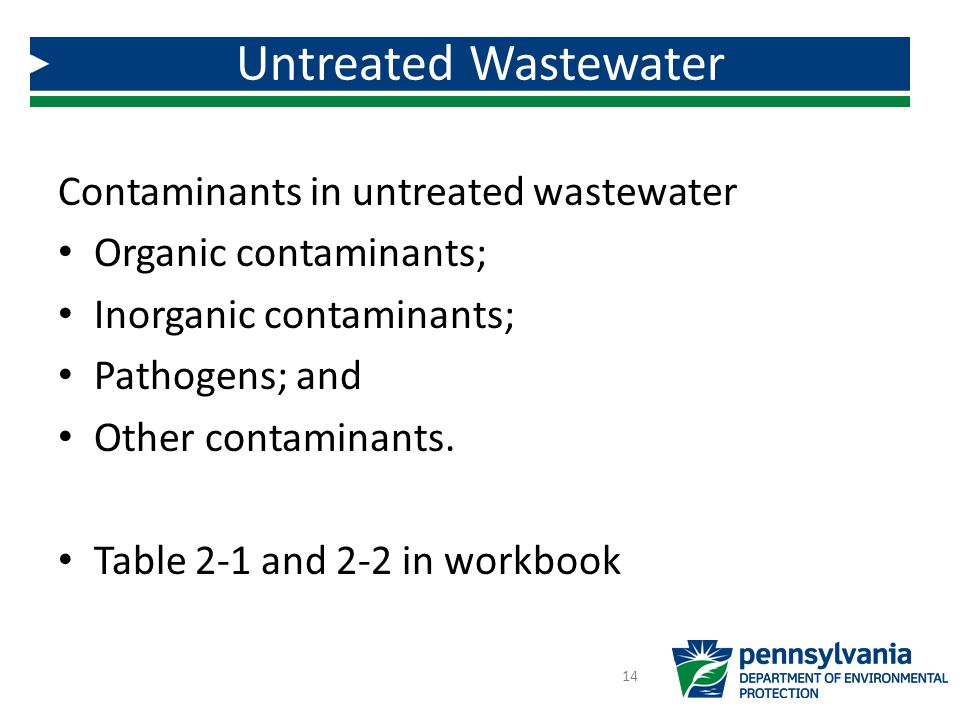 Untreated Wastewater Contaminants in untreated wastewater