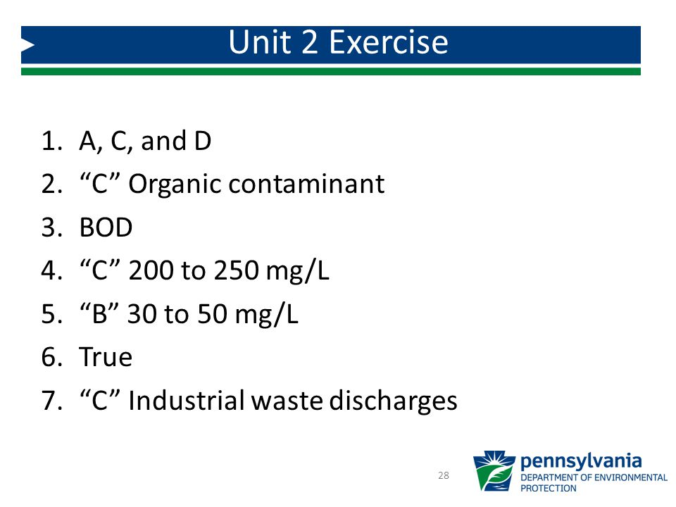 Unit 2 Exercise A, C, and D C Organic contaminant BOD