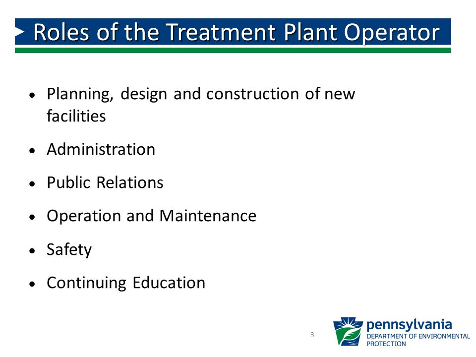 Roles of the Treatment Plant Operator