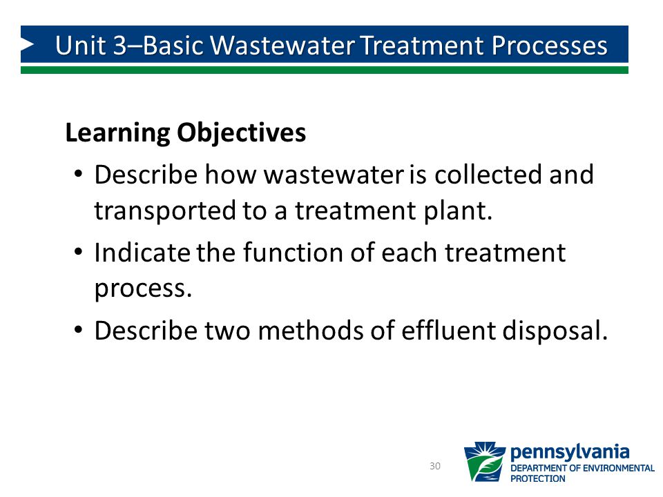 Unit 3–Basic Wastewater Treatment Processes