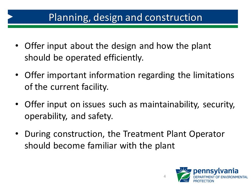 Planning, design and construction