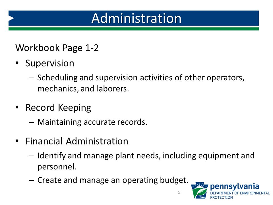 Administration Workbook Page 1-2 Supervision Record Keeping