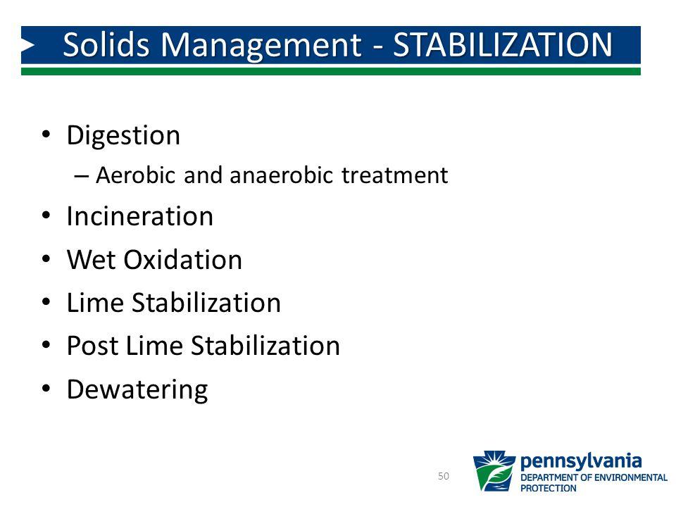 Solids Management - STABILIZATION