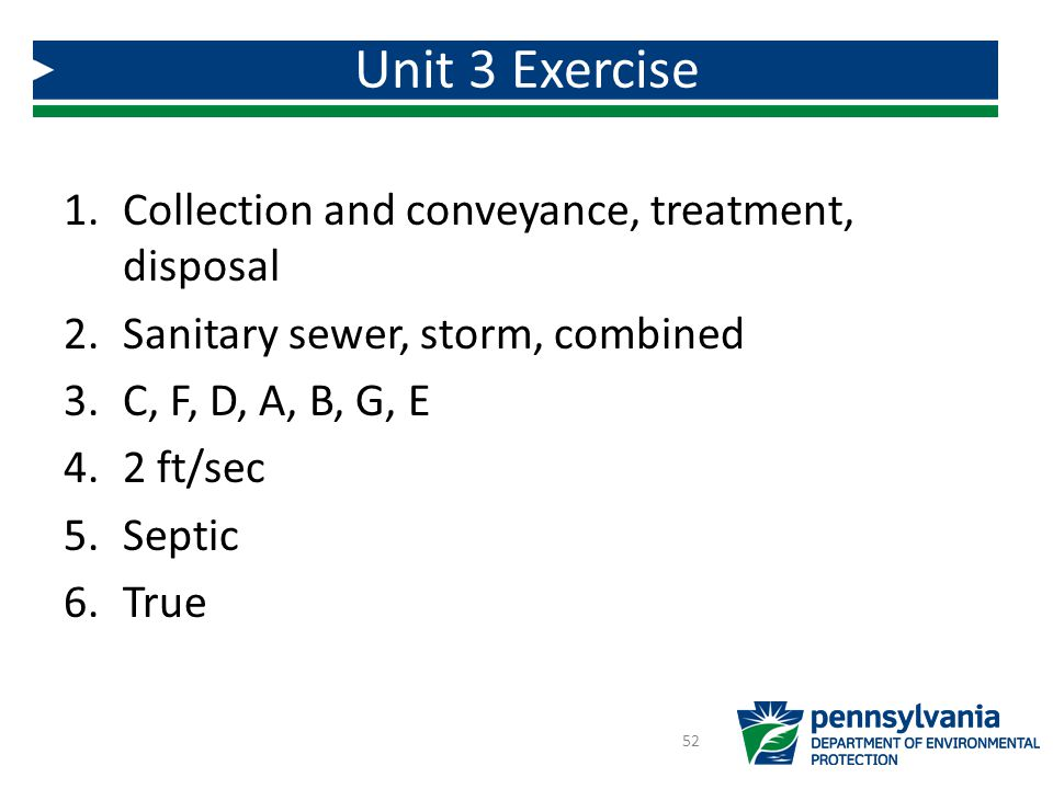Unit 3 Exercise Collection and conveyance, treatment, disposal
