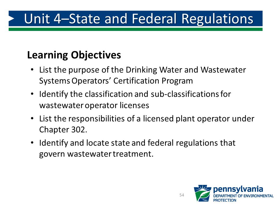 Unit 4–State and Federal Regulations