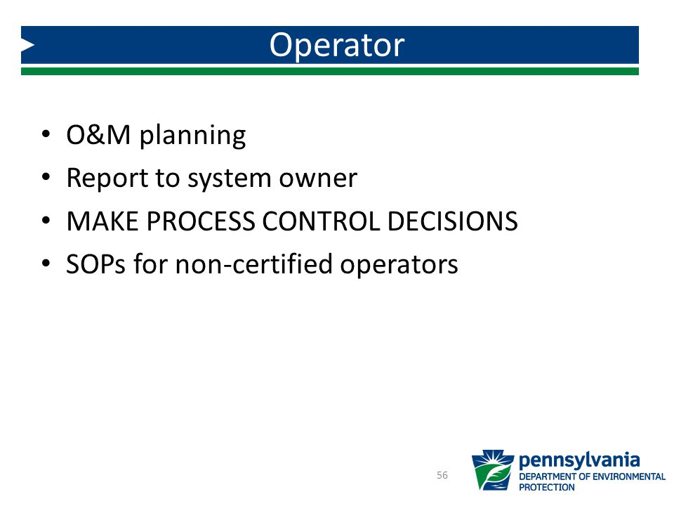 Operator O&M planning Report to system owner