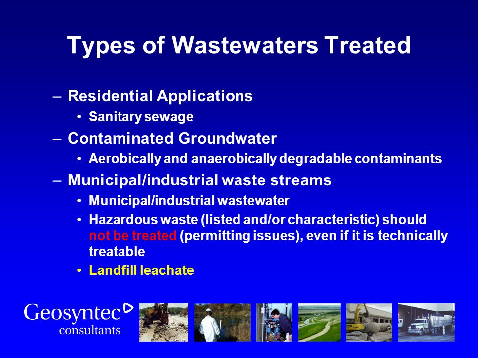 Types of Wastewaters Treated