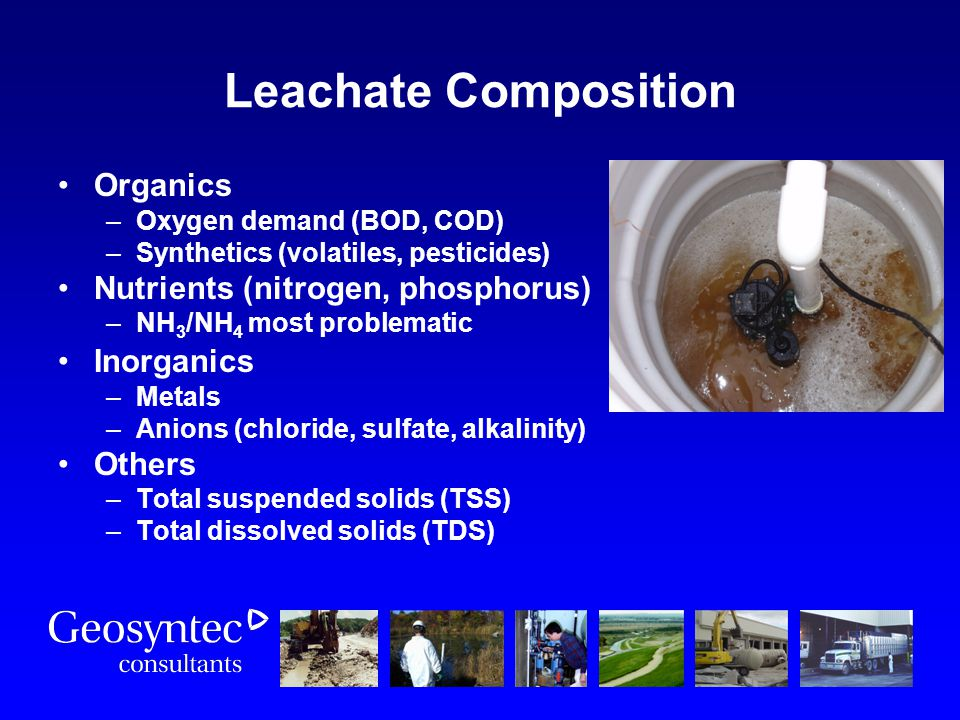 Leachate Composition Organics Nutrients (nitrogen, phosphorus)