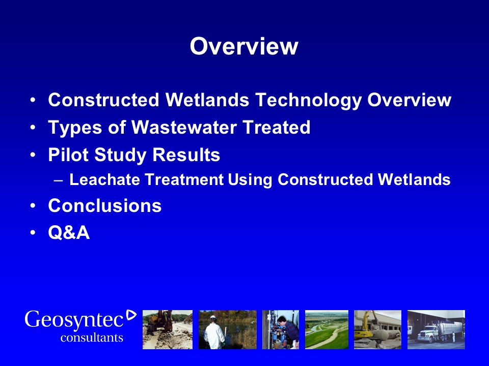 Overview Constructed Wetlands Technology Overview