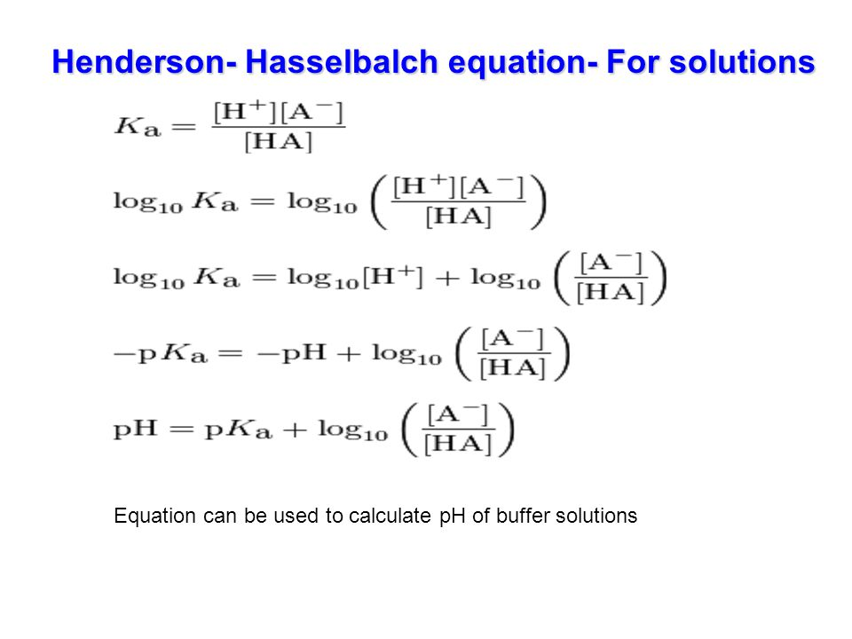 Henderson- Hasselbalch equation- For solutions
