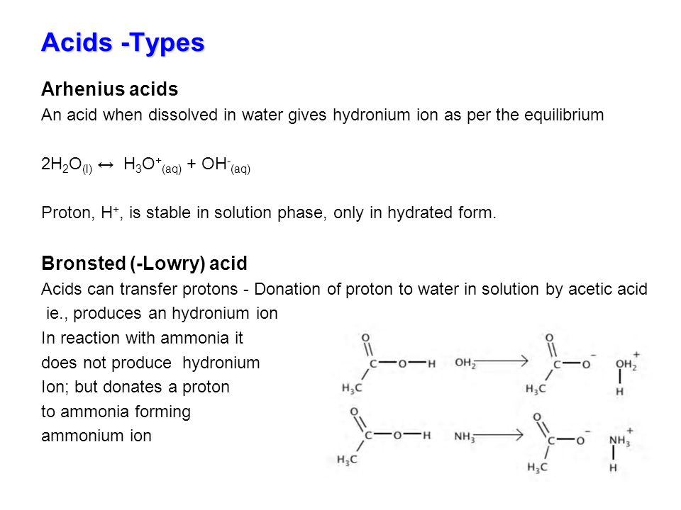 Acids -Types Arhenius acids Bronsted (-Lowry) acid
