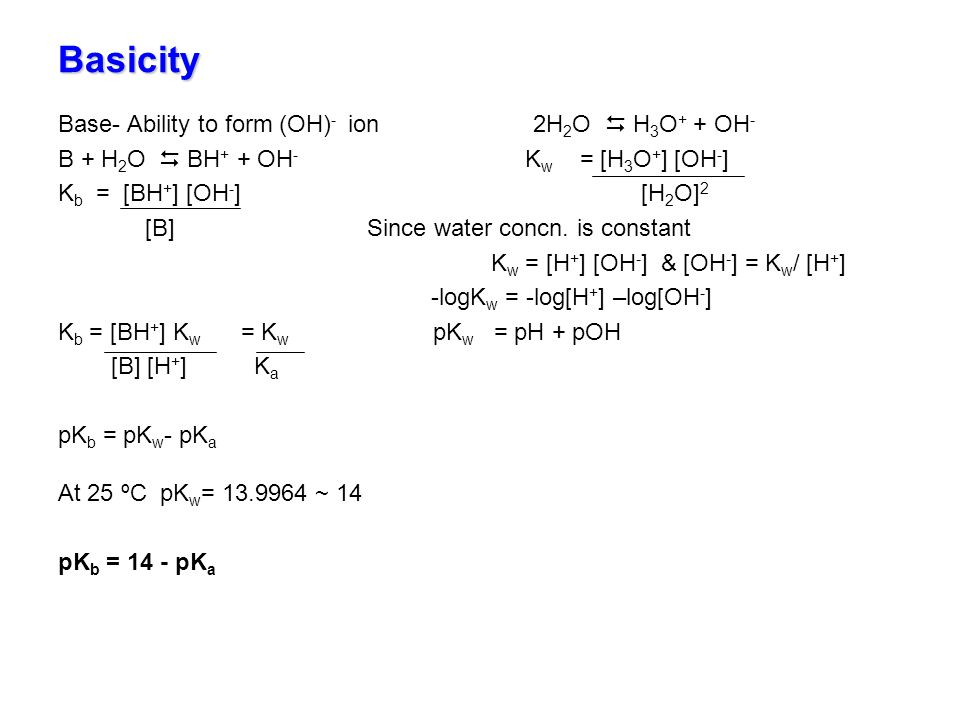 Basicity Base- Ability to form (OH)- ion 2H2O  H3O+ + OH-
