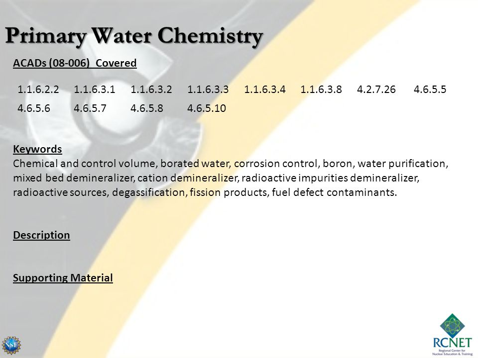 Primary Water Chemistry
