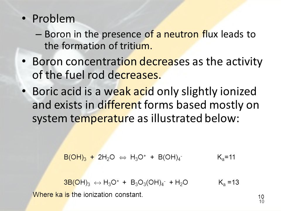 Problem Boron in the presence of a neutron flux leads to the formation of tritium.
