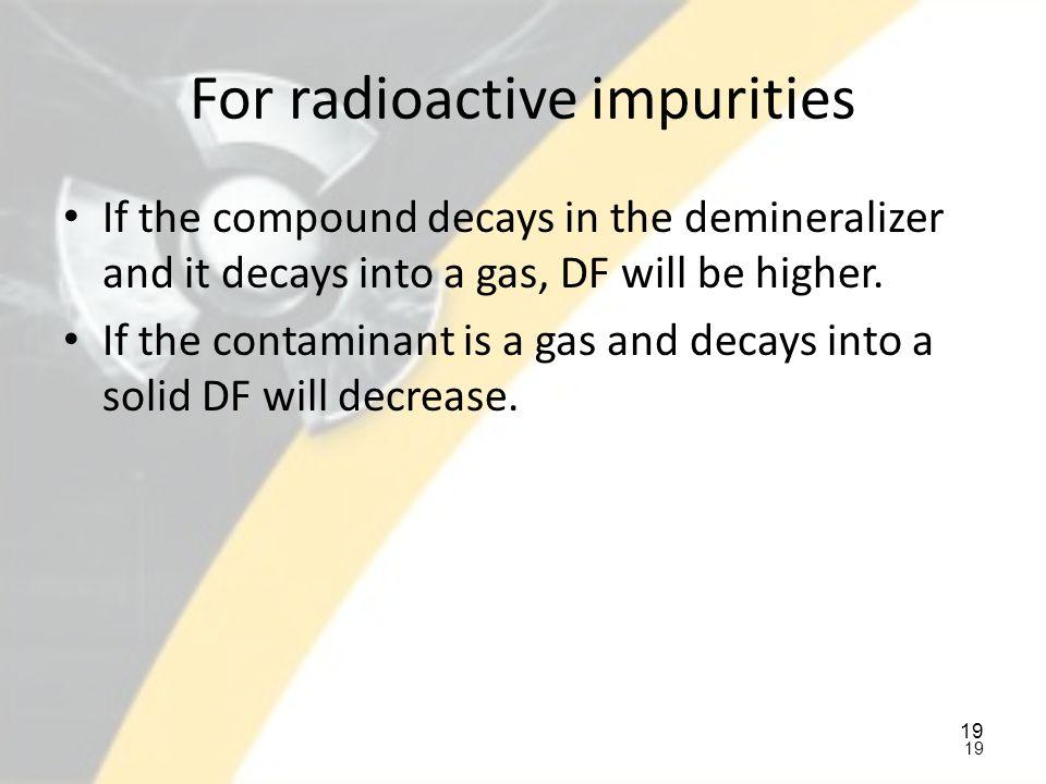 For radioactive impurities