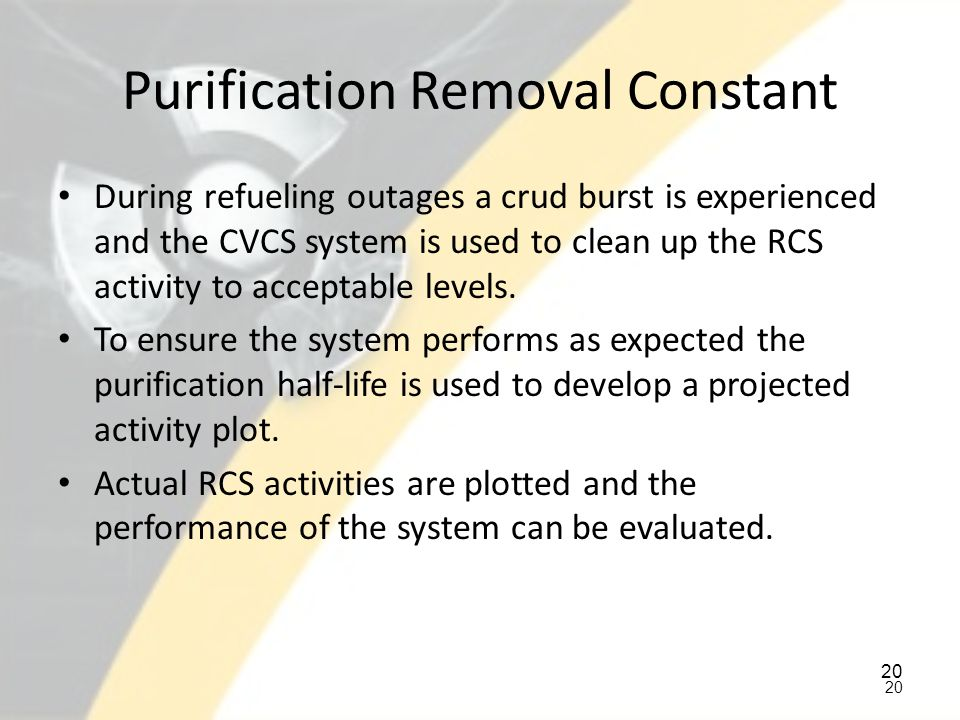 Purification Removal Constant
