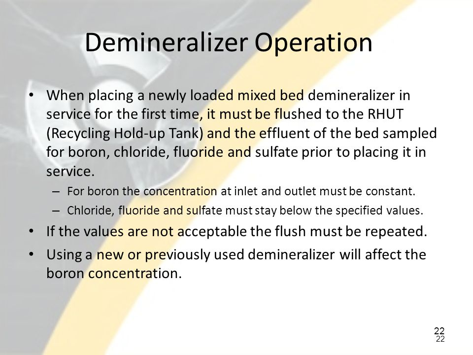 Demineralizer Operation
