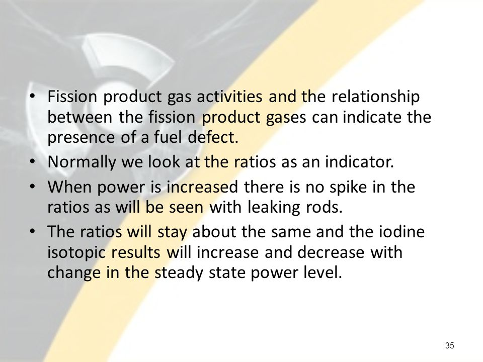 Fission product gas activities and the relationship between the fission product gases can indicate the presence of a fuel defect.