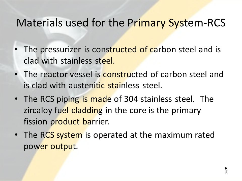 Materials used for the Primary System-RCS