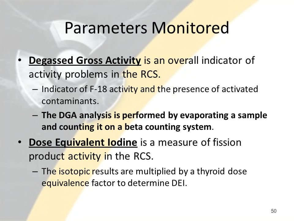 Parameters Monitored Degassed Gross Activity is an overall indicator of activity problems in the RCS.