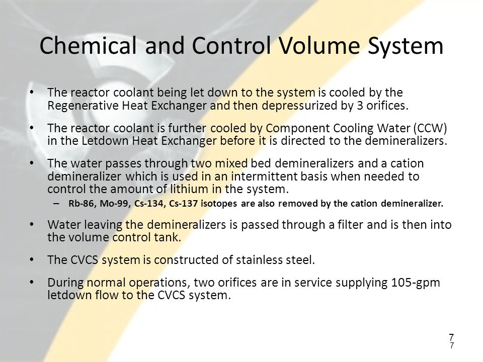 Chemical and Control Volume System