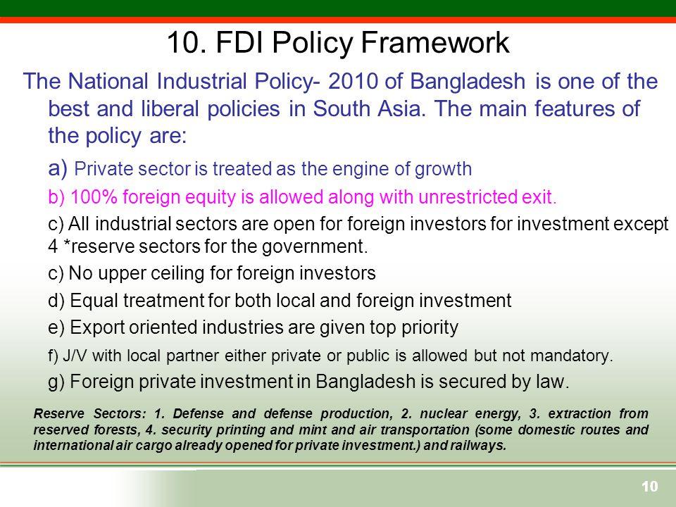 10. FDI Policy Framework