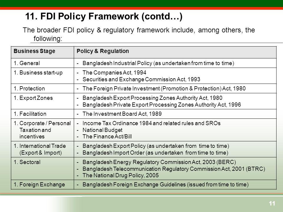11. FDI Policy Framework (contd…)