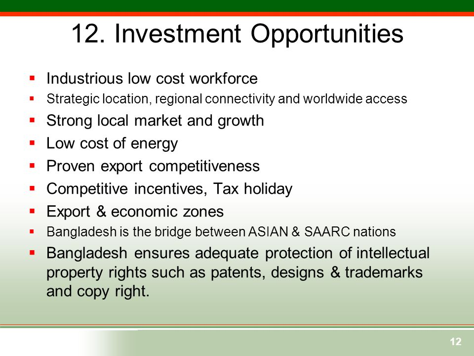 12. Investment Opportunities