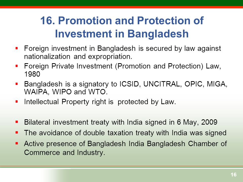 16. Promotion and Protection of Investment in Bangladesh