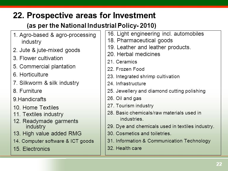 22. Prospective areas for Investment (as per the National Industrial Policy- 2010)