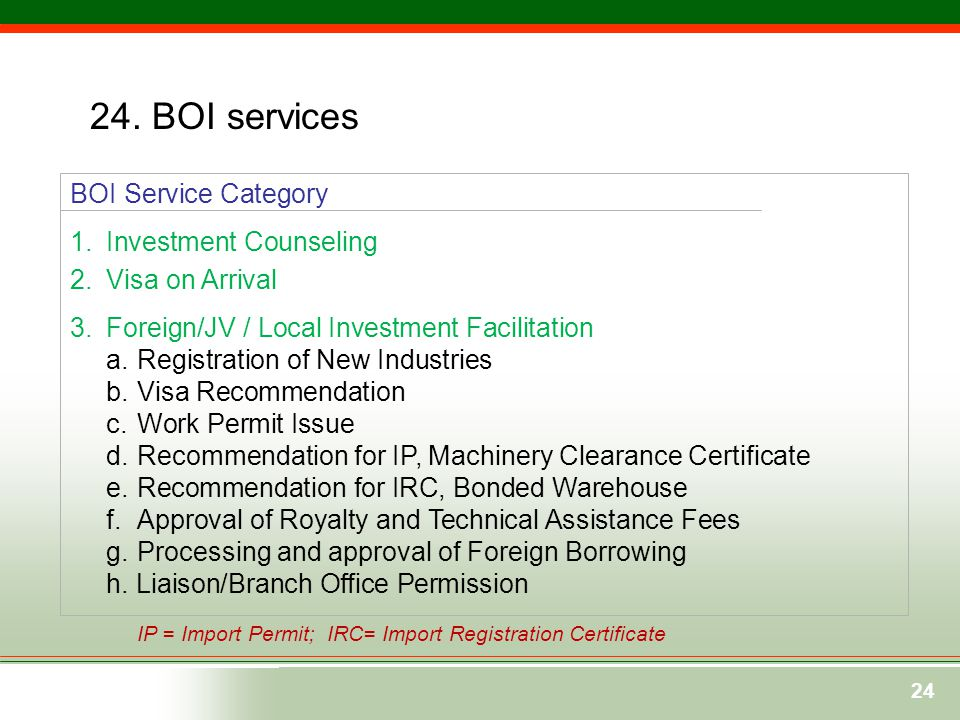 24. BOI services BOI Service Category Investment Counseling