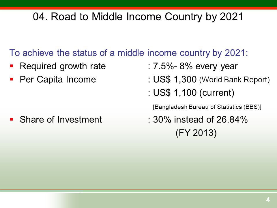 04. Road to Middle Income Country by 2021