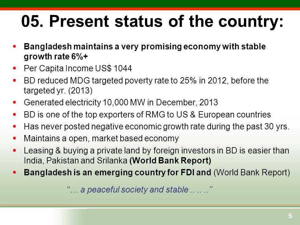 05. Present status of the country: