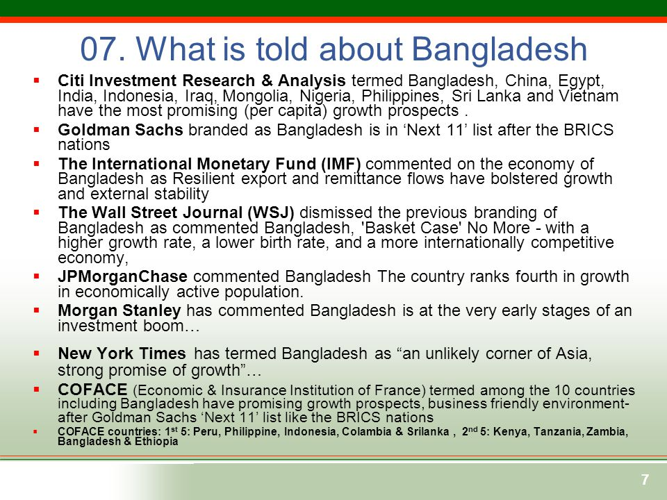 07. What is told about Bangladesh