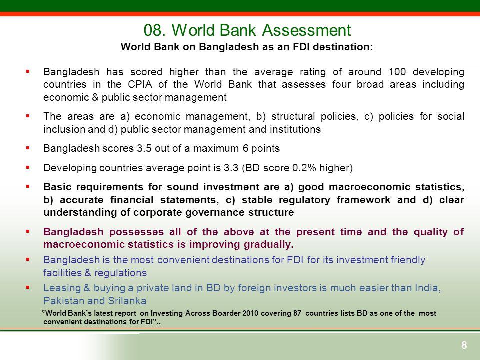 08. World Bank Assessment World Bank on Bangladesh as an FDI destination: