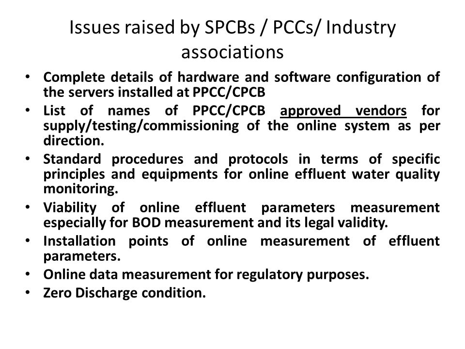 Issues raised by SPCBs / PCCs/ Industry associations