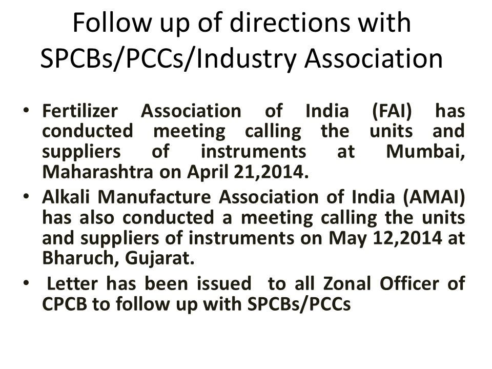 Follow up of directions with SPCBs/PCCs/Industry Association