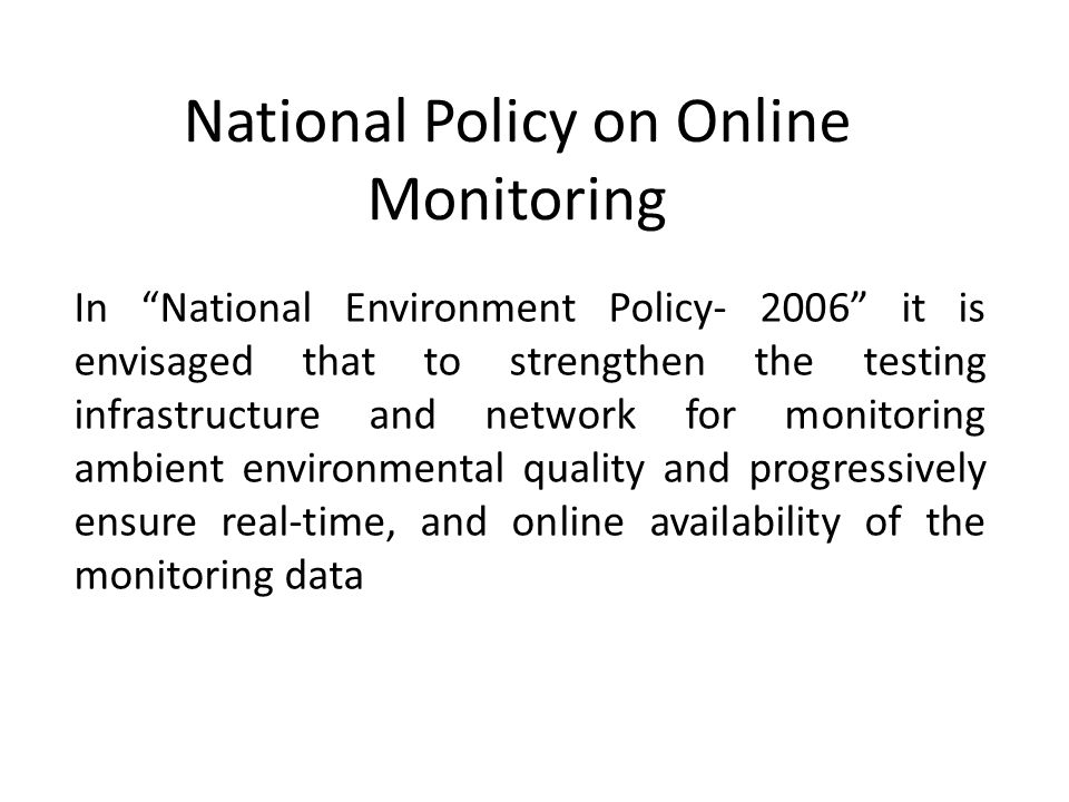 National Policy on Online Monitoring