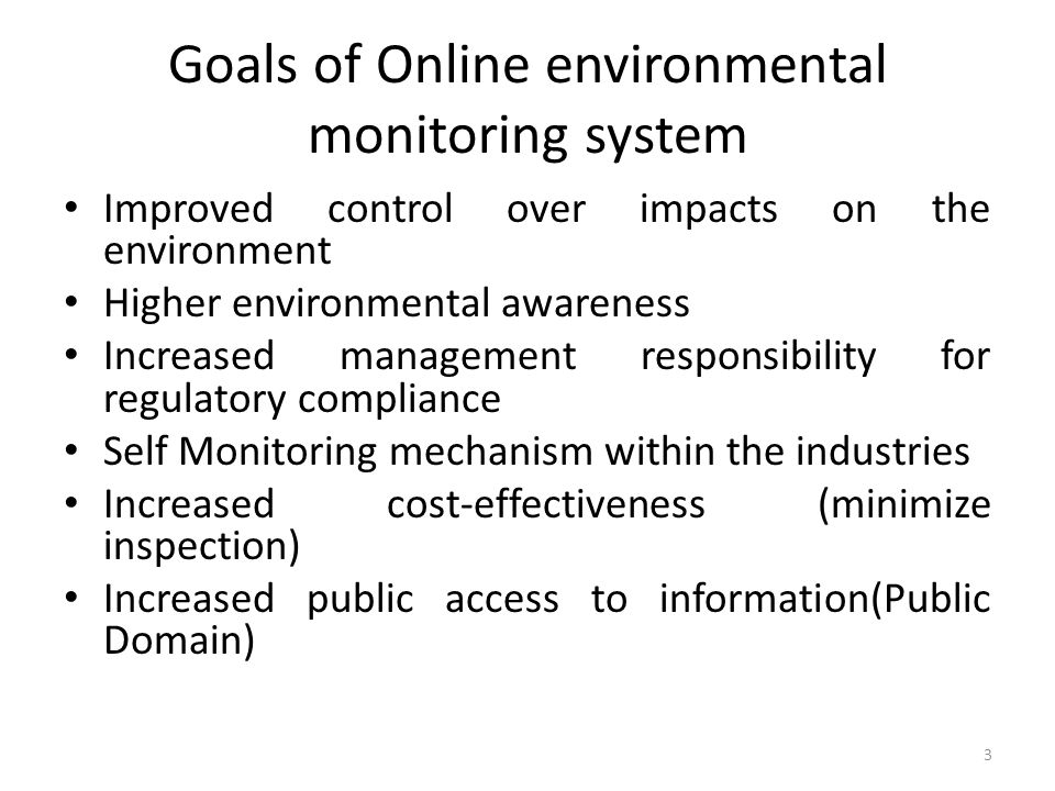 Goals of Online environmental monitoring system