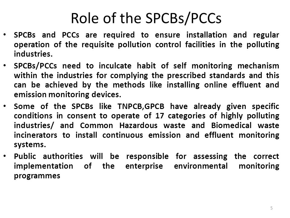 Role of the SPCBs/PCCs