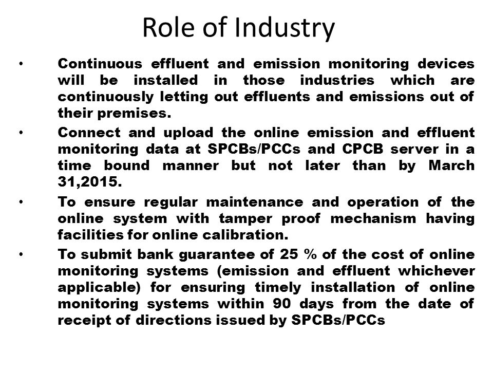 Role of Industry