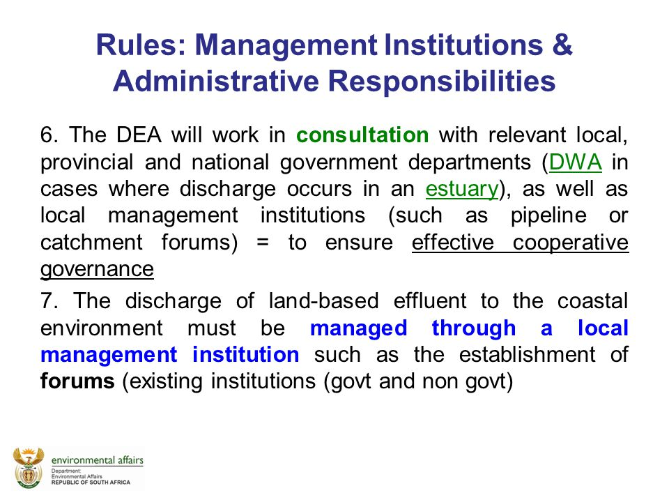 Rules: Management Institutions & Administrative Responsibilities