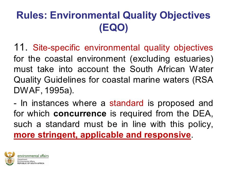 Rules: Environmental Quality Objectives (EQO)