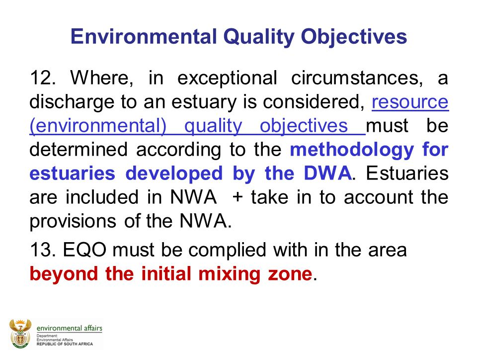 Environmental Quality Objectives